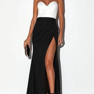 Lulus Spotlight Black & White Strapless Maxi Dress